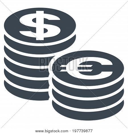 Euro And Dollar Coin Columns vector icon. Flat smooth blue symbol. Pictogram is isolated on a white background. Designed for web and software interfaces.