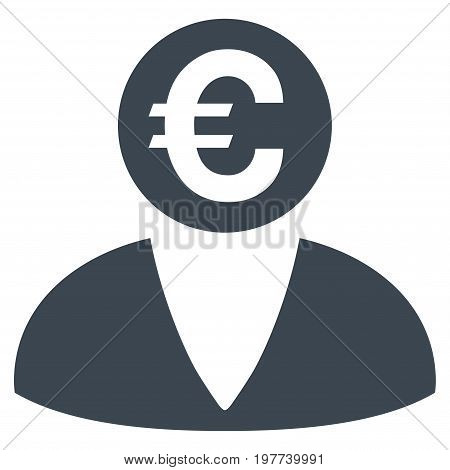 Euro Banker vector icon. Flat smooth blue symbol. Pictogram is isolated on a white background. Designed for web and software interfaces.