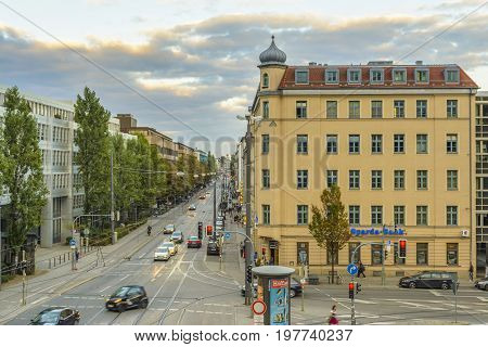 Evening view on Hackerbrucke street on September 27 2015 in Munich Bavaria Germany.