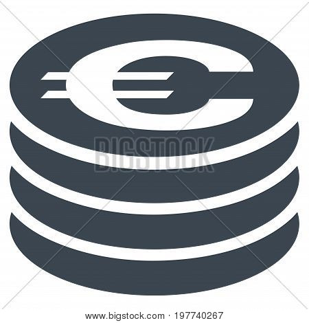 Euro Coin Column vector icon. Flat smooth blue symbol. Pictogram is isolated on a white background. Designed for web and software interfaces.