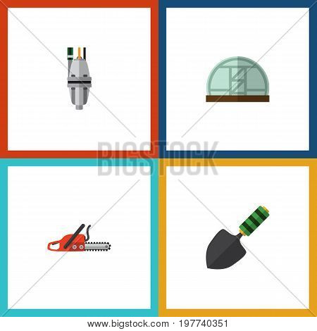 Flat Icon Dacha Set Of Pump, Hacksaw, Hothouse And Other Vector Objects