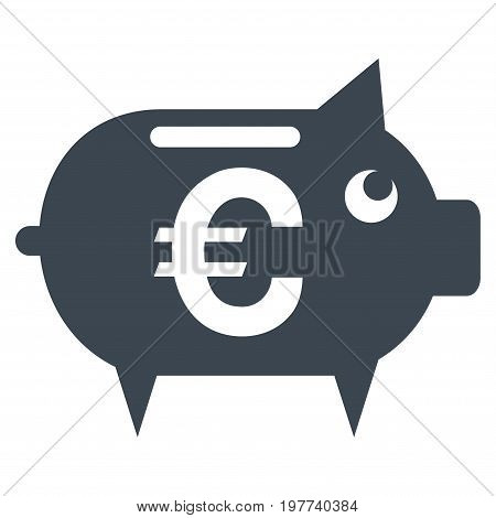 Euro Piggy Bank vector icon. Flat smooth blue symbol. Pictogram is isolated on a white background. Designed for web and software interfaces.