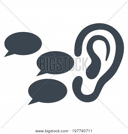 Listen Gossips vector icon. Flat smooth blue symbol. Pictogram is isolated on a white background. Designed for web and software interfaces.