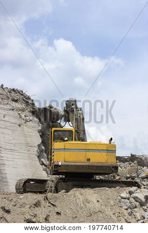 Jackhammer Crashing Reinforced Concrete