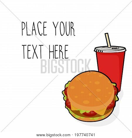 Vector template with burger and red soda cup for fast food business. Isometric cartoon style with text.