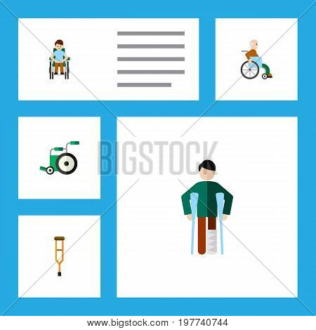 Flat Icon Disabled Set Of Injured, Handicapped Man, Disabled Person Vector Objects