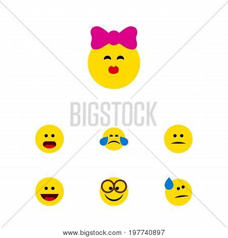 Flat Icon Gesture Set Of Tears, Wonder, Laugh And Other Vector Objects