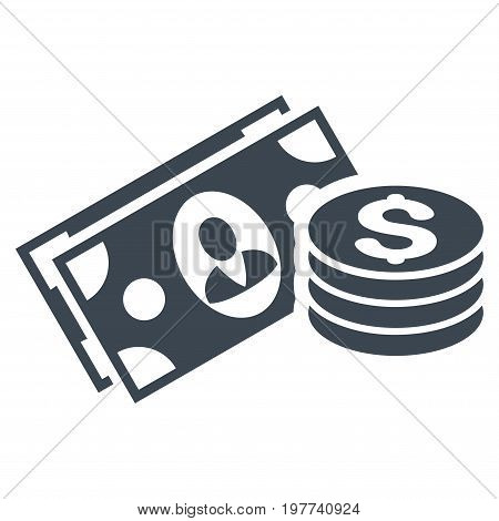 Money Cash vector icon. Flat smooth blue symbol. Pictogram is isolated on a white background. Designed for web and software interfaces.