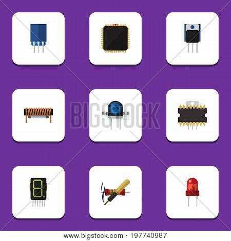 Flat Icon Device Set Of Microprocessor, Transducer, Receptacle And Other Vector Objects
