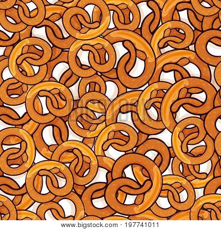 Pattern with many delicious pretzels with slice of butter for poster, menus, brochure, web and icon fastfood. Cartoon style with outline on white background