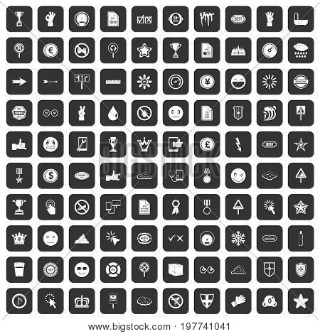100 symbol icons set in black color isolated vector illustration