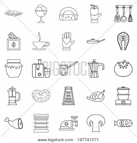 Jam icons set. Outline set of 25 jam vector icons for web isolated on white background