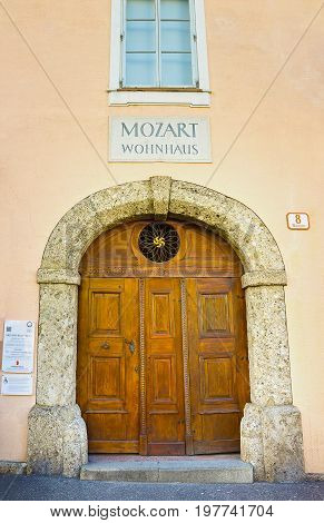Salzburg, Austria - May 01, 2017: Mozart Wohnhaus residential house of the famous composer Wolfgang Amadeus Mozart in Salzburg, Austria on May 01, 2017 . These days a museum dedidated to Mozart and his family