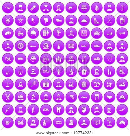 100 job icons set in purple circle isolated on white vector illustration