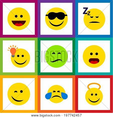 Flat Icon Face Set Of Laugh, Angel, Happy And Other Vector Objects