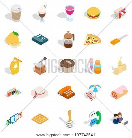Tasty food icons set. Isometric set of 25 tasty food vector icons for web isolated on white background