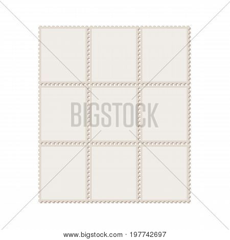 Unbroken vintage sheet of nine postage stamps. Set of stamps on a light background with a shadow. Vector illustration.