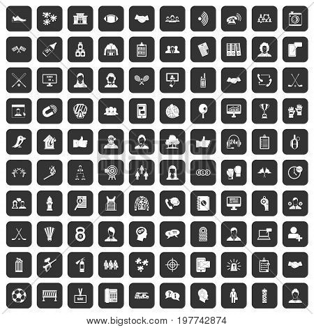 100 team icons set in black color isolated vector illustration