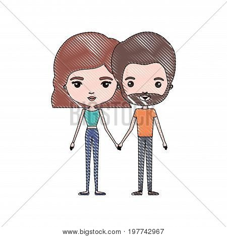 crayon colored silhouette of slim couple standing caricature and him with short brown hair and beard and her with pants and wavy short hairstyle in light brown vector illustration