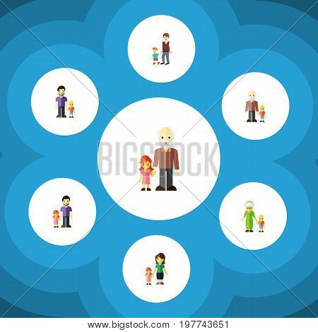 Flat Icon People Set Of Grandson, Grandpa, Grandma Vector Objects