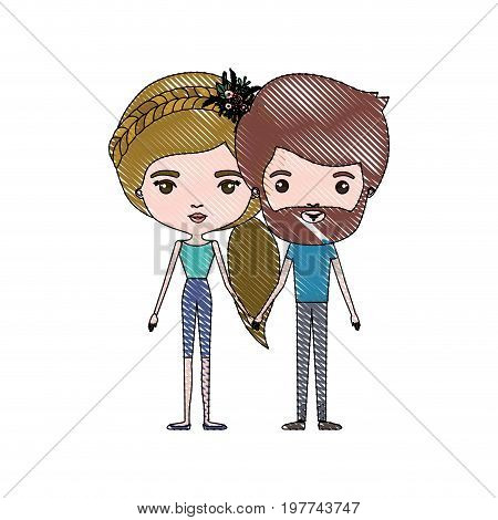 crayon colored silhouette of slim couple standing caricature and him with short brown hair and beard and her with pants and ponytail blond hairstyle and floral crown accesory vector illustration