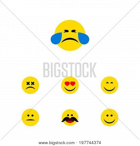 Flat Icon Expression Set Of Cheerful, Displeased, Smile And Other Vector Objects