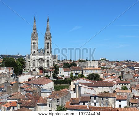 Rooftop view of the historic town of Niort and St Andre's church, in the Deux-Sèvres department in western France.