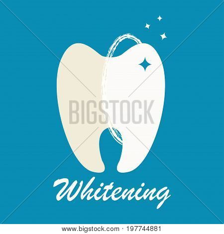 Clean and dirty tooth before and after whitening treatment. Vector illustration