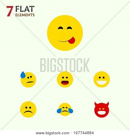 Flat Icon Face Set Of Delicious Food, Tears, Wonder And Other Vector Objects