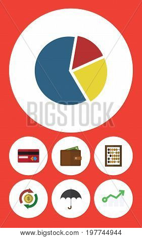 Flat Icon Finance Set Of Growth, Counter, Parasol And Other Vector Objects