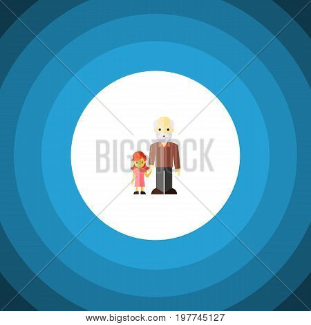 Grandpa Vector Element Can Be Used For Family, Grandpa, Grandchild Design Concept.  Isolated Grandchild Flat Icon.
