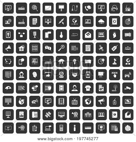 100 telecommunication icons set in black color isolated vector illustration