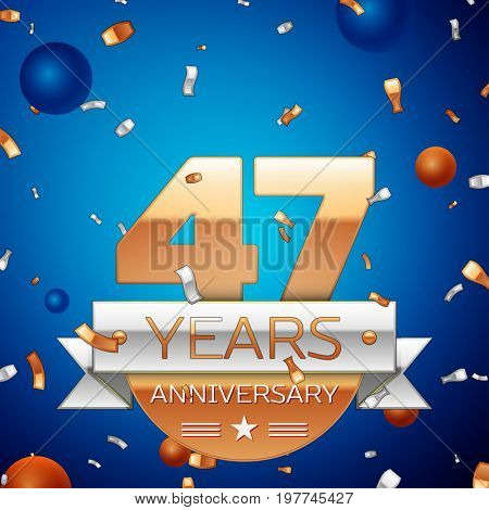 Realistic Forty seven Years Anniversary Celebration Design. Golden numbers and silver ribbon, confetti on blue background. Colorful Vector template elements for your birthday party