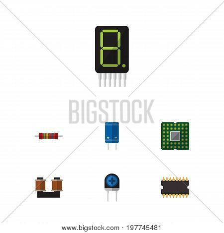 Flat Icon Electronics Set Of Microprocessor, Transducer, Transistor And Other Vector Objects