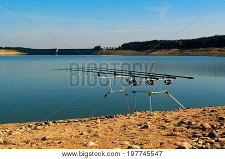 Fishing adventures. Fishing tackle Bite alarm, rod pod, fishing rod for fishing with the technique of carpfishing
