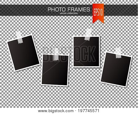 Set of vintage photo frame with adhesive tapes. Vector illustration. Photo realistic Vector EPS10 Mockups. Retro Photo Frame Template for your photos
