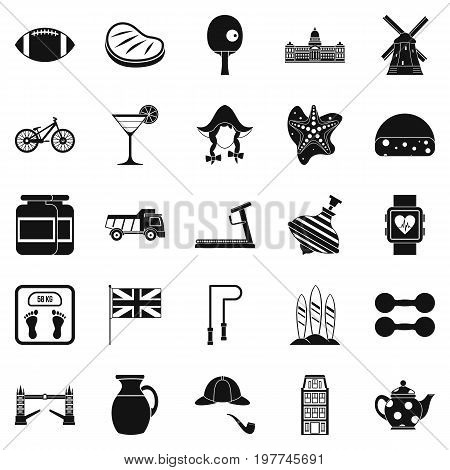 English sports icons set. Simple set of 25 english sports vector icons for web isolated on white background