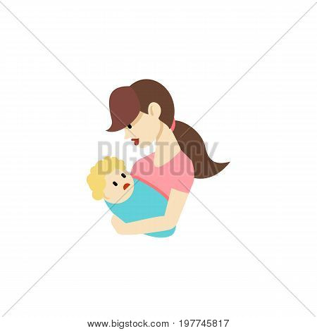 Child Vector Element Can Be Used For Child, Nanny, Mother Design Concept.  Isolated Nanny Flat Icon.