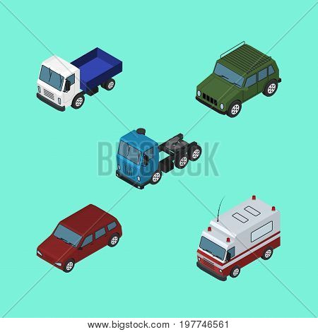 Isometric Transport Set Of Car, Lorry, Truck And Other Vector Objects