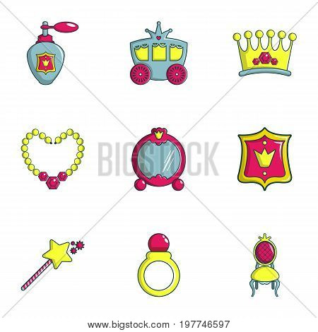 Little princess icons set. Flat set of 9 little princess vector icons for web isolated on white background