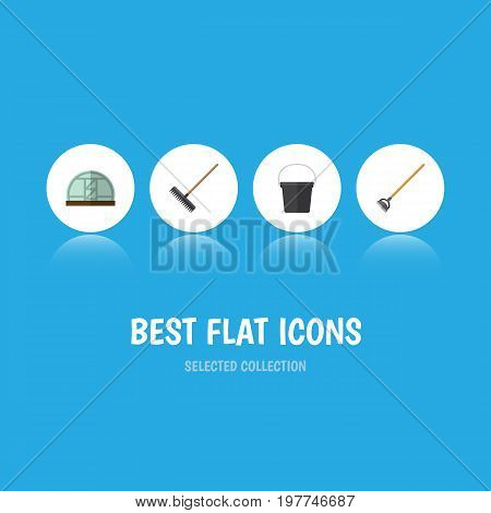 Flat Icon Dacha Set Of Pail, Harrow, Tool And Other Vector Objects
