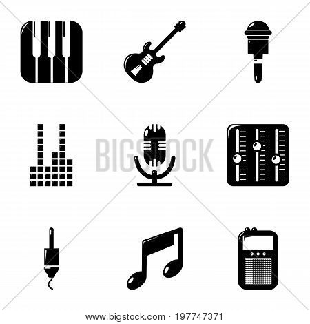 Sound processing icons set. Simple set of 9 sound processing vector icons for web isolated on white background