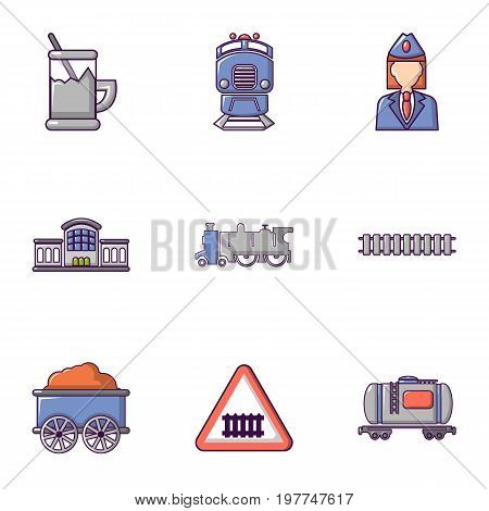 Railroad icons set. Flat set of 9 railroad vector icons for web isolated on white background