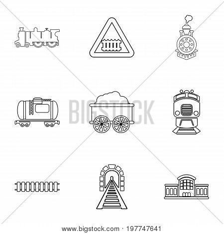 Railroad icons set. Outline set of 9 railroad vector icons for web isolated on white background
