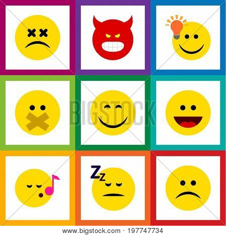Flat Icon Emoji Set Of Smile, Asleep, Hush And Other Vector Objects