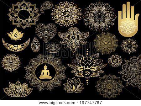 symbols of Buddhism, mandala -Beautiful gold stickers