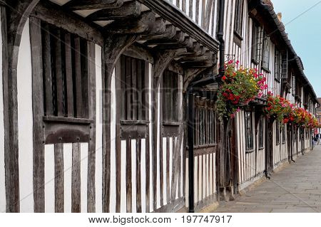 Traditional Tudor Timber Framed Wattle And Daub Houses With Pretty Hanging Baskets
