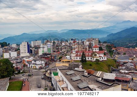 MANIZALES COLOMBIA - JUNE 1: Our Lady of the Rosary Church and surrounding neighborhood in Manizales Colombia on June 1 2016