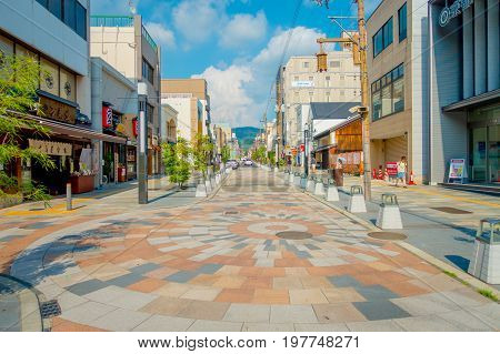 Nara, Japan - July 26, 2017: Unidentified people walking at the streets and visit a shopping area in Nara, Japan. Nara is a former capital city of Japan. Nowadays it's a big city inhabited by 368, 636 people.