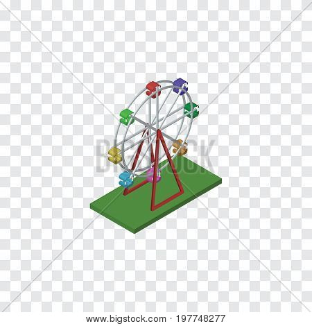 Recreation Vector Element Can Be Used For Ferris, Wheel, Attraction Design Concept.  Isolated Ferris Wheel Isometric.